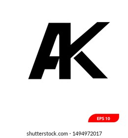 AK Letter Logo Template vector icon design