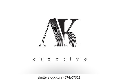 AK Logo Design With Multiple Lines. Artistic Elegant Black and White Lines Icon Vector Illustration.