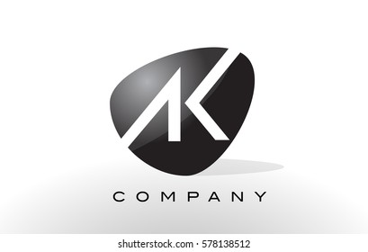 AK Logo. Letter Design Vector with Oval Shape and Black Colors.