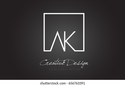 AK Square Framed Letter Logo Design Vector with Black and White Colors.
