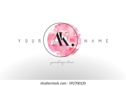 AK Watercolor Letter Logo Design with Circular Pink Brush Stroke.