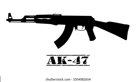 Ak-47 assault rifle icon silhouette