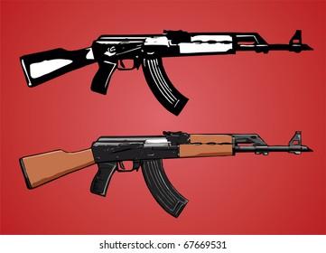 AK-47 assault rifle vector image