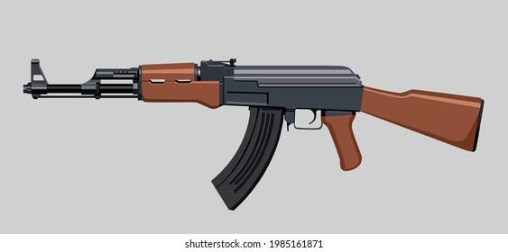 AK-47 assault rifle weapon gun vector. Russian machine gun ak47 drawing. Battle royale weapon vector draw