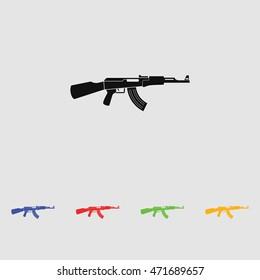 AK47 black simple icon. Kalashnikov machine gun silhouette.