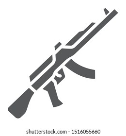 AK47 glyph icon, rifle and military, machine gun sign, vector graphics, a solid pattern on a white background, eps 10.