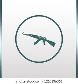 AK47 icon. Kalashnikov machine gun green silhouette. Vector illustration.