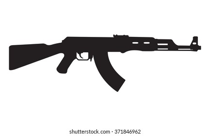 AK47 Icon Kalashnikov Machine Gun Black Silhouette Vector Illustration