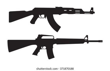 AK47 icon and M16 icon. Machine gun black silhouette. Vector illustration.