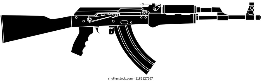 AK47 Rifle Black Vector Illustration