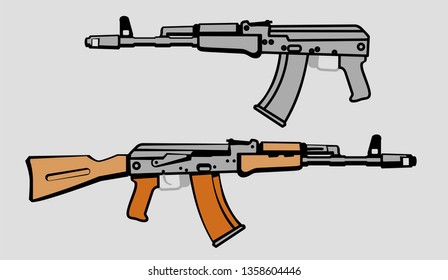 AK-74 soviet assault rifle. vector image for illustration