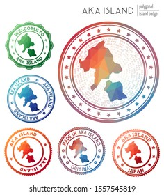 Aka Island badge. Colorful polygonal symbol. Multicolored geometric Aka Island logos set. Vector illustration.