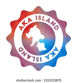Aka Island low poly logo. Colorful gradient travel logo in geometric style. Multicolored polygonal Aka Island rounded sign with map for your infographics.