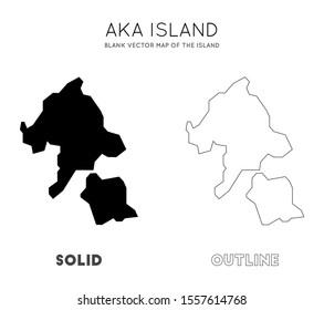 Aka Island map. Borders of Aka Island for your infographic. Vector illustration.