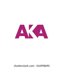 AKA Logo. Vector Graphic Branding Letter Element. White Background