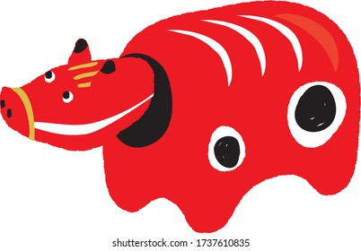 Akabeko illustration.Toy from Fukushima prefecture in the shape of a red cow.