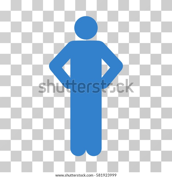 Akimbo Pose vector pictogram. Illustration style is a flat iconic cobalt symbol on a transparent background.