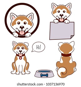 Akita dog vector icon. Happy puppy set, front view and back.