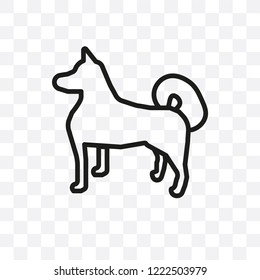 Akita dog vector linear icon isolated on transparent background, Akita dog transparency concept can be used for web and mobile