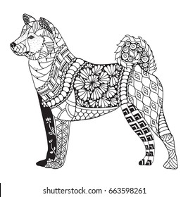 Akita dog zentangle stylized, vector, illustration, freehand pencil, hand drawn, pattern. Zen art. Black and white illustration on white background. Adult anti-stress coloring book. Print for t-shirt.