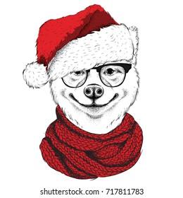 Akita inu in Santa Claus hat runs New Year's background. Vector illustration
