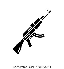 AKM weapon glyph icon. Virtual video game firearm, gun. Shooter game rifle. Cybersport, esport sniper military inventory, equipment. Silhouette symbol. Negative space. Vector isolated illustration