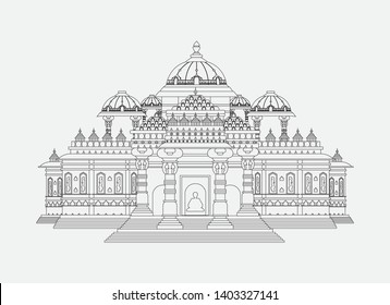 Akshardham Temple Line Art Delhi India Monuments