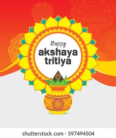 Akshaya Tritiya Background Template with Mangal Kalash