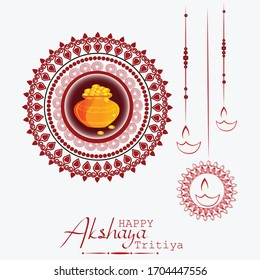 Akshaya Tritiya celebration with a golden kalash and jewellery Sale background.