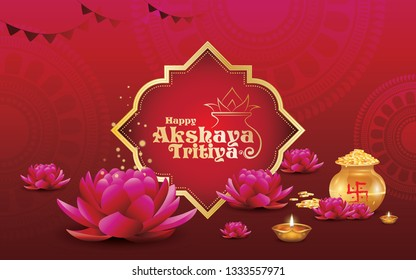 Akshaya Tritiya Festival  Background Design Template with Decorative Ornaments Kalash, Lotus, Lamps