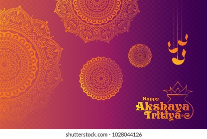 Akshaya Tritiya Festival Background Template Design with Beautiful Golden Floral Ornaments