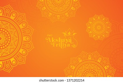 Akshaya Tritiya Festival Background Template Design with Beautiful Round Floral Ornaments-Round Floral Ornamental Background Design for Indian Festival Akshaya Tritiya