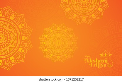 Akshaya Tritiya Festival Background Template Design with Beautiful Round Floral Ornaments