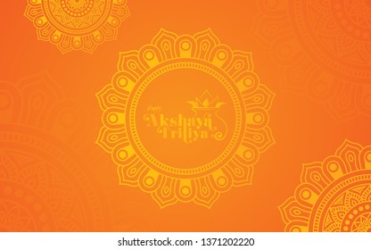 Akshaya Tritiya Festival Background Template Design with Beautiful Round Floral Ornaments-Round Floral Ornamental Background Design for Indian Festival Akshaya Tritiya