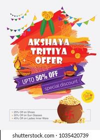Akshaya Tritiya Festival Offer Background Template with 50% Discount Tag - Indian Festival Akshaya Tritiya Offer Template Design with Abstract Watercolor Background with 50% Discount Tag