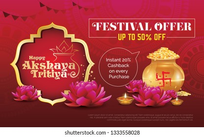 Akshaya Tritiya Festival Offer, Sale Background Template with 50% Discount Tag