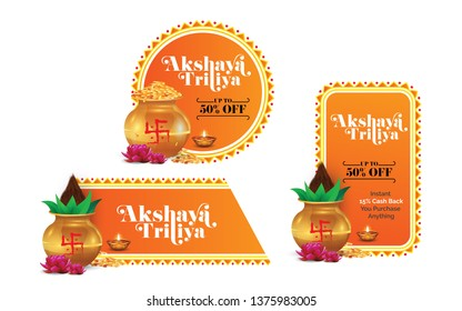 Akshaya Tritiya Festival Offer, Sale Banner Design Set Vector Illustration