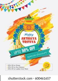 Akshaya Tritiya Festival Offer Template Design with Mangal Kalash, Golden Coin, 50% Discount Tag
