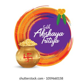 Akshaya Tritiya Festival Template Design with Kalash, Gold Coins on Abstract Watercolor Background