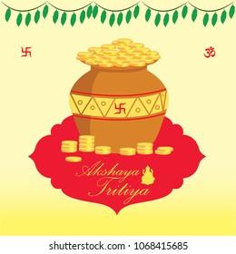 Akshaya Tritiya Greeting gold Vector