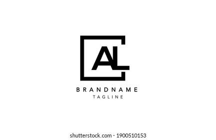 AL Alphabet Letters Initial Square Icon Logo