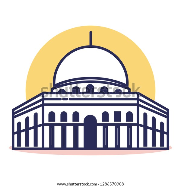 Al Aqsa Icon - Travel and Destination with Outline Style