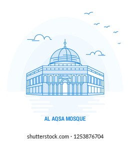 AL AQSA MOSQUE Blue Landmark. Creative background and Poster Template
