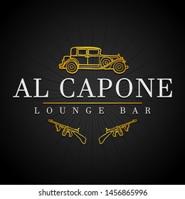 Al Capone Icon Restaurant. Mafia Lounge Bar. Logotype Gangster Guns. Flat Golden Icon.