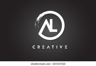 AL Circular Letter Logo with Circle Brush Design and Black Background.