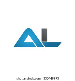 AL company linked letter logo blue