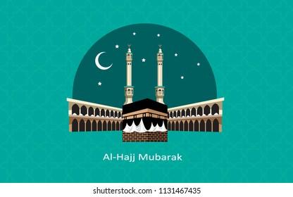 al hajj mubarak creative background with kaaba and green color