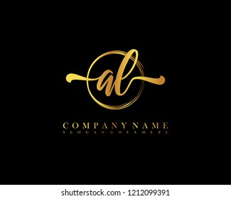 AL initial handwriting logo circle template vector