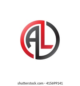 AL initial letters linked circle company logo red black