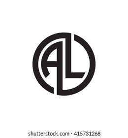 AL initial letters linked circle monogram logo